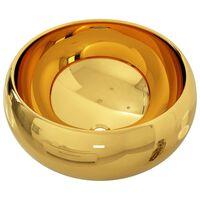vidaXL Umivalnik keramičen 40x15 cm zlat