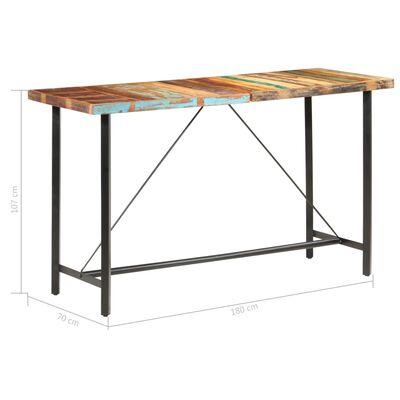 vidaXL Barska miza 180x70x107 cm trden predelan les