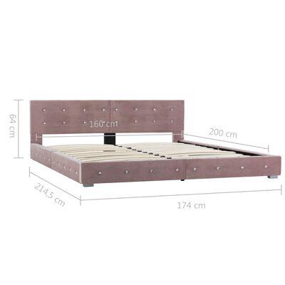 vidaXL Postelja z vzmetnico roza žamet 160x200 cm