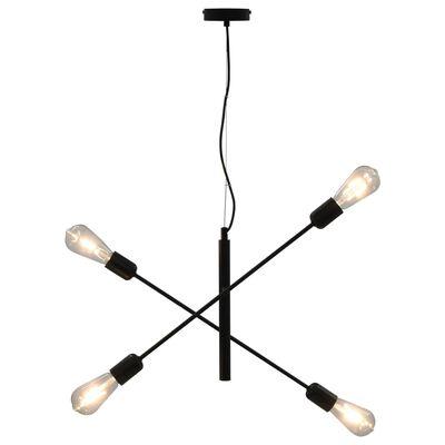 vidaXL Stropna svetilka z žarnicami 2 W črna E27