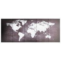 vidaXL Slika na platnu zemljevid sveta siv 150x60 cm