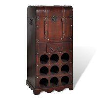 vidaXL Leseno stojalo za vino za 9 steklenic in s skrinjo