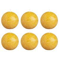 Bolsius Rustikalne okrogle sveče 6 kosov 80 mm oker rumene
