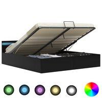 vidaXL Dvižni posteljni okvir LED črno umetno usnje 160x200 cm