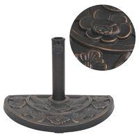 vidaXL Podstavek za senčnik polokrogel bronast 9 kg