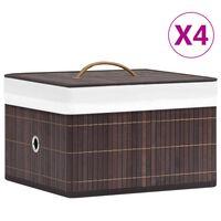 vidaXL Škatle za shranjevanje iz bambusa 4 kosi rjave
