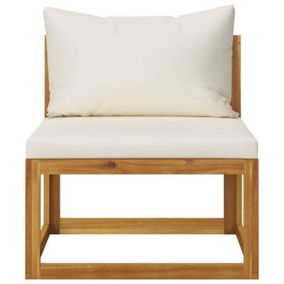 vidaXL Vrtna sedežna garnitura z blazinami 6-delna krem akacijev les