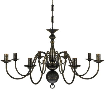 Antični Črn Kovinski Lestenec 8 x E14 Žarnica