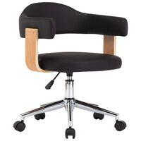 vidaXL Vrtljiv pisarniški stol črn ukrivljen les in umetno usnje