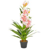 vidaXL Umetna rastlina Lilija z loncem roza 90 cm