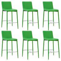 vidaXL Barski stolčki 6 kosov zeleno umetno usnje