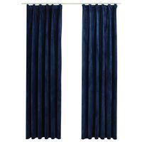 vidaXL Zatemnitvene zavese 2 kosa z obešali žametne modre 140x245 cm