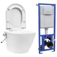 vidaXL Viseča WC školjka brez roba z vgradnim kotličkom keramična bela