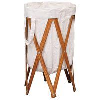 vidaXL Zložljiva košara za perilo krem iz lesa in blaga