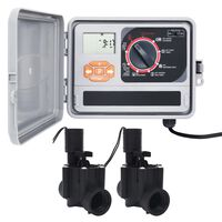 vidaXL Upravljalnik za zalivanje vrta z 2 elektromagnetnima ventiloma