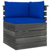 vidaXL Vrtni kotni kavč iz palet z blazinami borovina