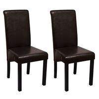 vidaXL Jedilni stoli 2 kosa rjavo umetno usnje