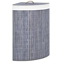 vidaXL Kotna košara za perilo iz bambusa siva 60 L