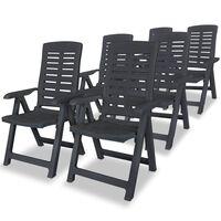 vidaXL Nastavljivi vrtni stoli 6 kosov plastika antracitne barve