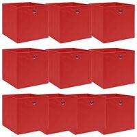 vidaXL Škatle za shranjevanje 10 kosov rdeče 32x32x32 cm blago