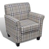vidaXL Fotelj z blazino krem blago
