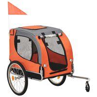 vidaXL Kolesarska prikolica za psa oranžna in siva