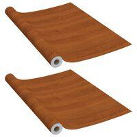 vidaXL Samolepilna folija za pohištvo 2 kosa svetli hrast 500x90cm PVC