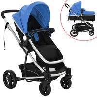 vidaXL 2-v-1 Otroški Voziček Aluminijast Modre in Črne Barve