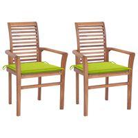 vidaXL Jedilni stoli 2 kosa s svetlo zelenimi blazinami trdna tikovina