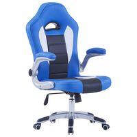 vidaXL Gaming stol iz modrega umetnega usnja