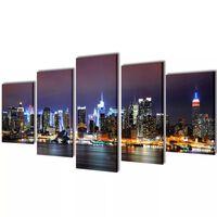 Set platen s printom New York ponoči 200 x 100 cm