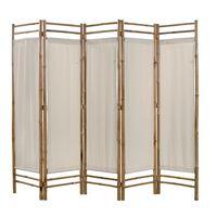 vidaXL Zložljiv 5-delni panel za razdelitev bambus in platno 200 cm