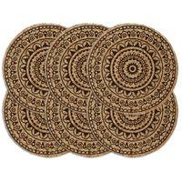 vidaXL Pogrinjki 6 kosov temno rjavi 38 cm okrogli iz jute