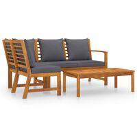 vidaXL Vrtna sedežna garnitura z blazinami 4-delna trden akacijev les