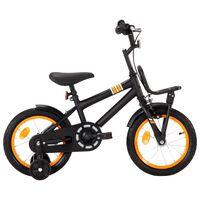 """vidaXL Otroško kolo s prednjim prtljažnikom 14"""" črno in oranžno"""
