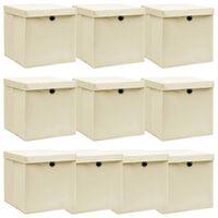 vidaXL Škatle za shranjevanje s pokrovi 10 kosov krem 32x32x32cm blago