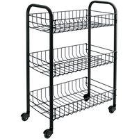 Metaltex Kuhinjski voziček s 3 košarami Siena črn