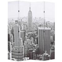 vidaXL Zložljiv paravan 160x170 cm New York podnevi črn in bel