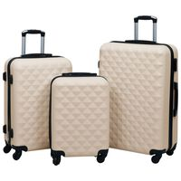 vidaXL Trdi potovalni kovčki 3 kosi zlati ABS