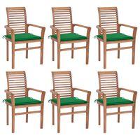 vidaXL Jedilni stoli 6 kosov z zelenimi blazinami trdna tikovina