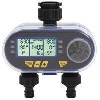 vidaXL Avtomatski digitalni časovnik za zalivanje z dvojnim odvodom