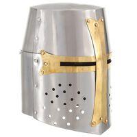 vidaXL Srednjeveška križarska viteška čelada kopija LARP srebrno jeklo