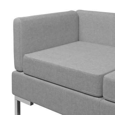 vidaXL Sedežna garnitura 3-delna blago svetlo siva