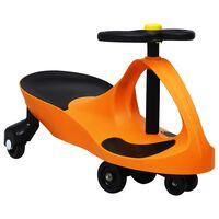vidaXL Otroški vrtljiv avtomobil s hupo oranžne barve