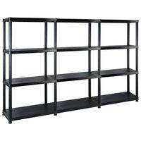 vidaXL Regal s policami 4-nadstropni črn 183x30,5x130 cm plastika