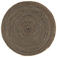 vidaXL Preproga iz jute črn spiralni dizajn ročno izdelana 120 cm