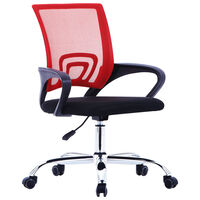 vidaXL Pisarniški stol z mrežastim naslonjalom rdeče blago