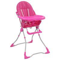 vidaXL Visok otroški stol za hranjenje roza in bel