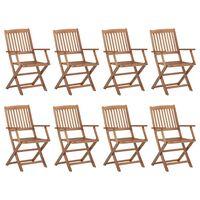vidaXL Zložljivi zunanji stoli 8 kosov trden akacijev les