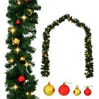 vidaXL Božična girlanda okrašena z bučkami in LED lučkami 5 m